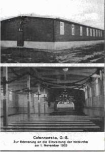 Barak w którym mieścił się lazaret w Oleśnie sprzedany do Kolonowskiego, który przeznaczono na kaplicę.