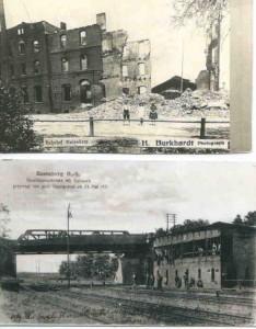 Wysadzony w powietrze dworzec kolejowy i wiadukt kolejowy przez powstanców śląskich w maju 1921 r.