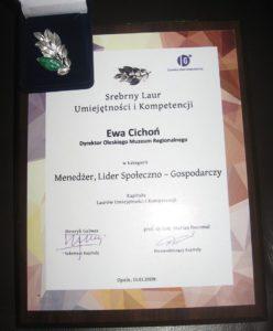 Wyróżnienie Srebrny Laur Umiejętności  i Kompetencji dla dyrektor muzeum Ewy Cichoń.