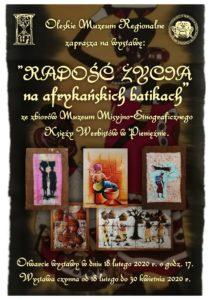 """Plakat promujący wystawę """"Radość życia na afrykańskich batikach"""" ze zbiorów Muzeum Misyjno-Etnograficznego Księży Werbistów w Pieniężnie."""