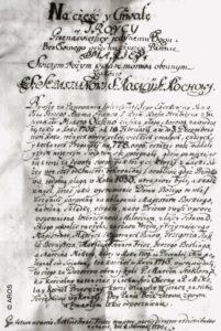 Dokument sporządzony w Oleśnie w dniu 6 XI 1710 r. dotyczący oleskiej dżumy.