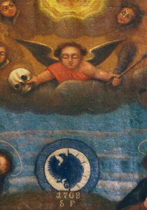 Fragment obrazu Orędowników w czasach epidemii w kościele św. Rocha w Grodzisku.