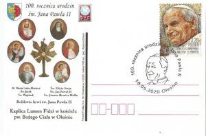 Kartka okolicznościowa  wydana z okazji 100. rocznicy urodzin św. Jana Pawła II  zaprojektowana przez Ryszarda Szircha.