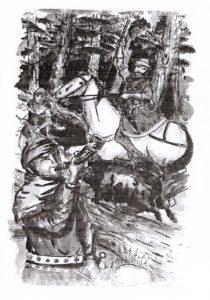 Rysunek przedstawiający polujących  w lesie