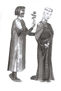 Rysunek przedstawia rycerza Voko z rodu Begów i Różę- legendarnych założycieli Olesna