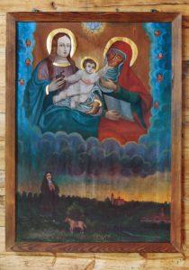 W górnej strefie obrazu św. Anna Samotrzeć, w dolnej fundator Szymon Foit