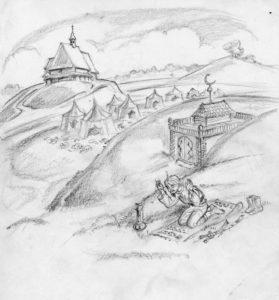 Na wzgórzu kościół św. Rocha, przy mauzoleum tatarskim modlący się Tatar