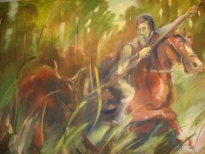 Rysunek przedstawia polującego Księcia Henryka I Brodatego