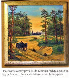 Leśną drogą jedzie wóz z cudownie uratowaną przez św. Annę dziewczynką z Jastrzygowic