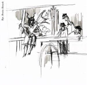 Diabeł i trzej studenci w kościele św. Rocha-rys. Beata Biniek