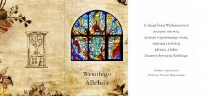 Na kartce swiątecznej  witraż z kościoła św. Michała w Oleśnie